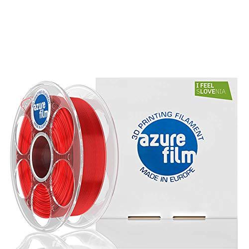 AZUREFILM 3D Filamento PLA per stampa 3D professionale 1,75 mm - Accessori di stampa 3D indispensabili - Precisione dimensionale elevata +/- 0,02 mm, Bobina 1 kg, Rosso Trasparente