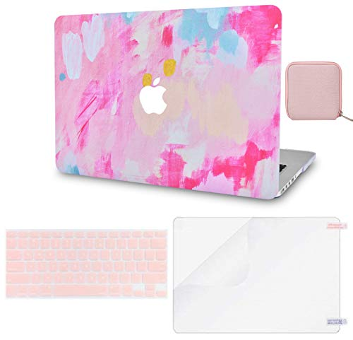 LuvCase 4 in 1 Laptop Case for MacBook Pro 13' (2016-2020) w/wo Touch Bar A2159/A1989/A1706/A1708 Hard Shell Cover, Pouch, Keyboard Cover & Screen Protector (Pink Mist 2)