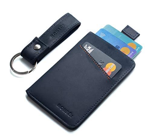 MONSOI Tarjetero Hombre Piel RFID para hasta 12 Tarjetas | Billetera Fina | Cartera Pequeña para Hombres y Mujeres | El Slim Wallet