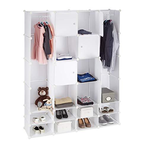 Relaxdays Kleiderschrank Stecksystem multifunktional, 20 Fächer, großer Kunststoff Garderobenschrank 180 x 146 cm, weiß