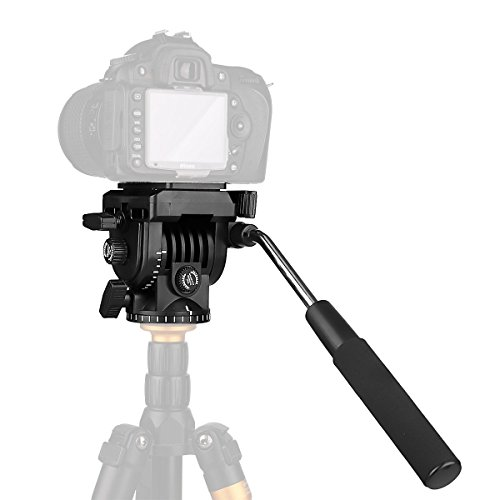 """Fluid Head,pangshi VT-1510 Video Camera Tripod Head Fluid Drag Pan Tilt Head with 1/4"""" Quick Release Plate for Canon Nikon Sony DSLR Cameras Camcorder Shooting Filming"""