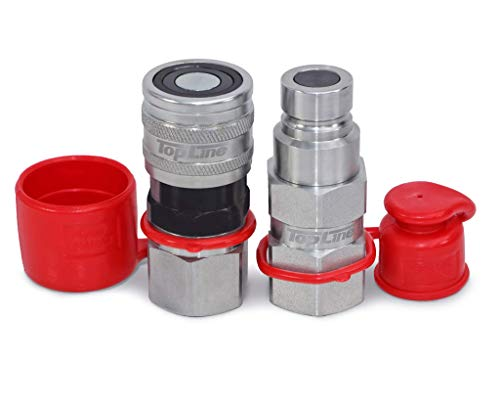 TL19 3 8  NPT Thread Flat Face Quick Connect Hydraulic Coupler w dust caps Coupling Plug Set Bobcat Skid Steer, 1 2  Body ISO 16028