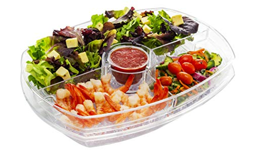 Eternal Living Kitchen Ideas Appetizer Serving Tray on Ice with Lid   Shrimp Cocktail Chilled Bowl with Ice Compartment for Parties, Clear
