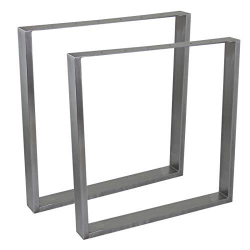2 Pieds de table Rectangulaires fini Acier Brut & Protecteurs de Pieds Clipsable. 710mm x 700mm x 75mm