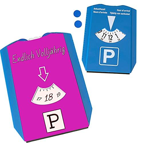 Endlich volljährig Parkscheibe in Pink Geschenk zum 18 Geburtstag eigenes Auto Freunde über 18 erwachsen praktisch mit Eiskratzer und Wasserabstreifer Party Mitbringsel