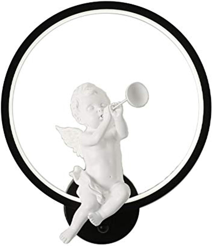 VinDeng Engel LED Wandlicht Nightlight, 18W Dekoration Wandleuchte Acryl Runde Eisen Kreativ Wandlampe Schlafzimmer Flur 30x35cm-schwarz kaltes Wei