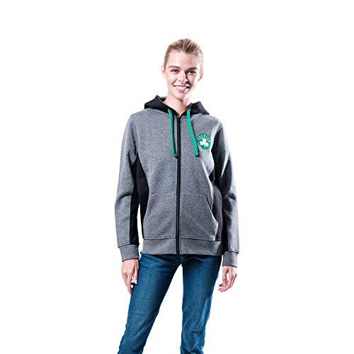 NBA Boston Celtics Women's Full Zip Hoodie Sweatshirt Jacket Dime, X-Large, Charcoal