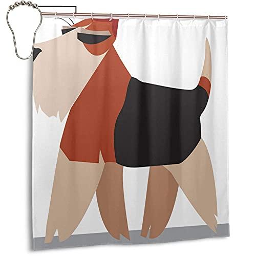 Duschvorhang mit Weizen-Terrier-Welpen-H&, minimalistischer Showe-Vorhang, 167,6 x 182,9 cm, Badezimmer-Duschvorhang mit 12 Haken