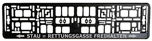 Schwarzer Kennzeichenhalter - Rettungsgasse Freihalten - Aufdruck in Silber - Kennzeichenverstärker - Kennzeichenträger - Kennzeichen - Halter