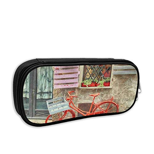 Estuche de lápices de lona lindo Estuche de lápices Estuche de lápices portátil con compartimentos para niñas adolescentes (bicicleta roja europea en bicicleta en la ciudad medieval italiana)
