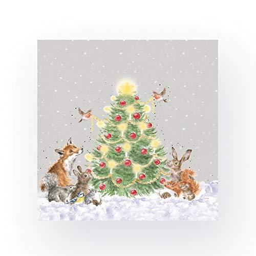 Wrendale Designs 20 Servietten Oh Christmas Tree Waldtiere 33 cm