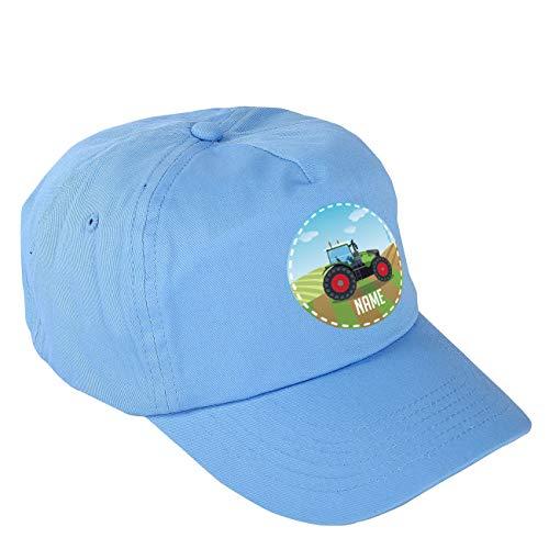 Striefchen® Blaues Basecap für Jungs mit eigenem Namen und Traktor
