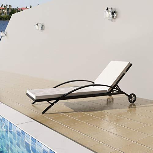 Tidyard Gartenliege Sonnenliege Rattan mit Rollen und Auflage, Relaxliege Liegestuhl Garten Lounge für Garten Terrasse Schwimmbad, Schwarz