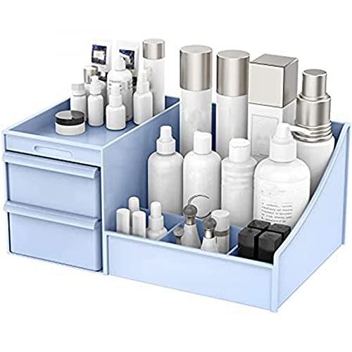 N\C Caja de almacenamiento cosmética de escritorio de maquillaje azul con cajones para tocador