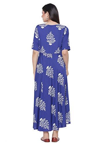 VERADIVA Womens Rayon Floral Print Flared Long Gown (Blue)