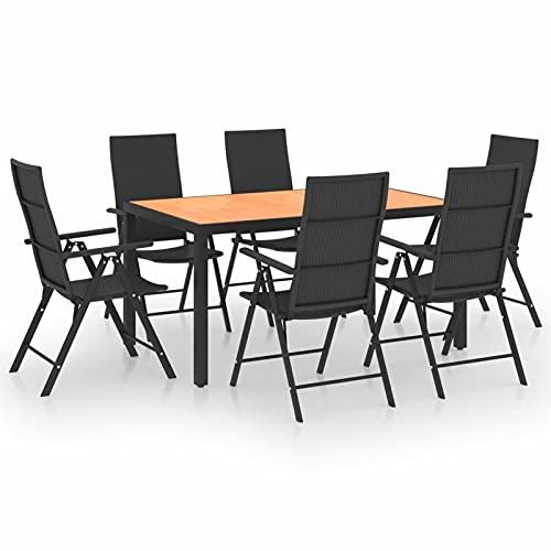 Tidyard Set 7pz da Pranzo da Giardino per Esterno,Set Tavolo Rettangolare e 6 Sedie da Pranzo da Giardino per Esterno,Tavolo con Sedie da Pranzo