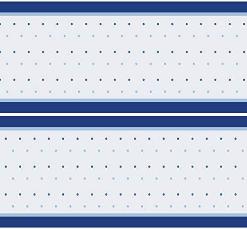 Selbstklebende Bordüre Blaue Kreise, 4-teilig 560x15cm, Tapetenbordüre, Wandbordüre, Borte, Wanddeko,Retro, blau