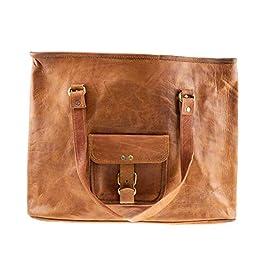Riverbend Leather Bag, Large Vintage Travel Bag Organizer for Men and Women, Brown
