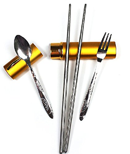 Stainless Steel Portable Chopstick Set with Spoon, Chopstick and Fork, Set Of 4 Pieces (Fork, Spoon, Chopsticks and Carrying Case), Gold