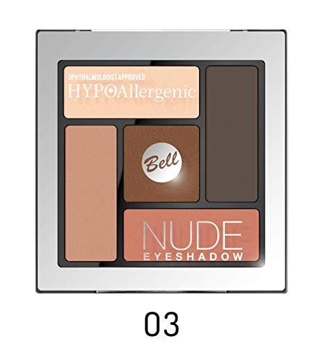 Bell HYPOAllergenic Paleta de sombras de ojos, tonos nude, n.º 03, aprobada oftalmológicamente