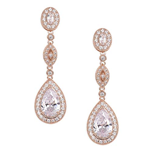 SWEETV Pendientes de novia de circonita cúbica con forma de lágrima para mujer, damas de honor, novias, pendientes colgantes con diamantes de imitación de cristal