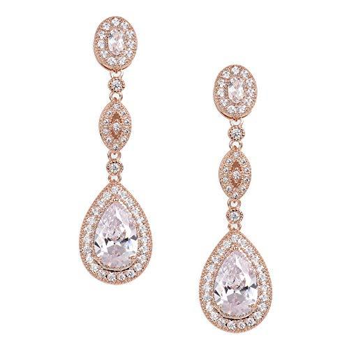 SWEETV Cubic Zirconia Teardrop Wedding Bridal Earrings for Women,Bridesmaids,Brides - Rose Gold Crystal Rhinestones Dangling Earrings Jewelry