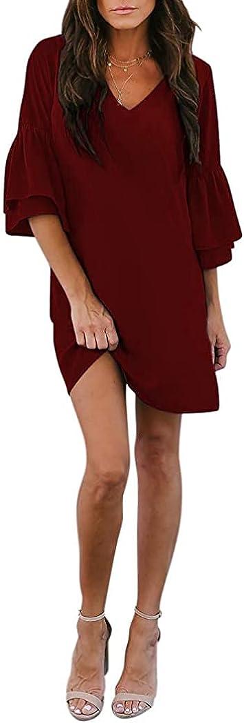 Summer Dresses for Women Casual Bell Sleeve V Neck Shift Dress Short Beach House Dresses