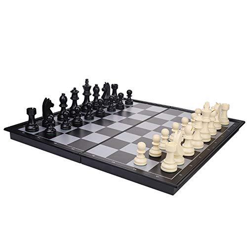 LXLTL Juego Ajedrez y Damas, Tablero Ajedrez Magnético, Ajedrez y Damas Plegable para Niños Viajar Portátil Tablero de ajedrez de Madera