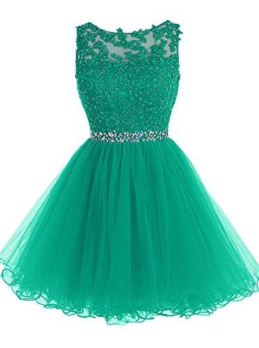 ALAGIRLS Damen Tüll kurz Homecoming Kleid Applique Ballkleid Abendkleid Knielang TC10198 GreenUS4