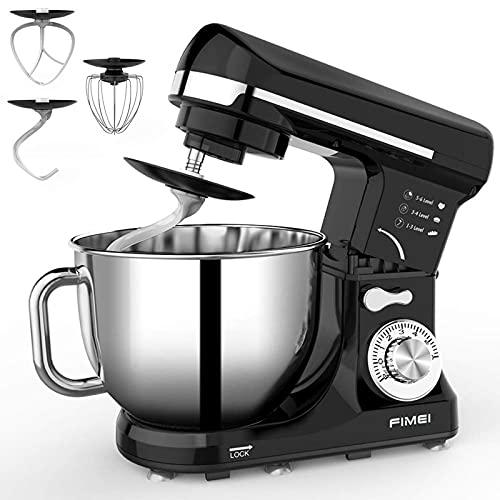 Stand Mixer, FIMEI 5L Dough Mixer, 6 Speeds, 1000W, Dough Hook & Beater with Ceramic Glaze(Dishwasher Safe), Whisk, Anti-Oil Cover, Splash Guard, Anti-Slip, AC-Motor, (Black)