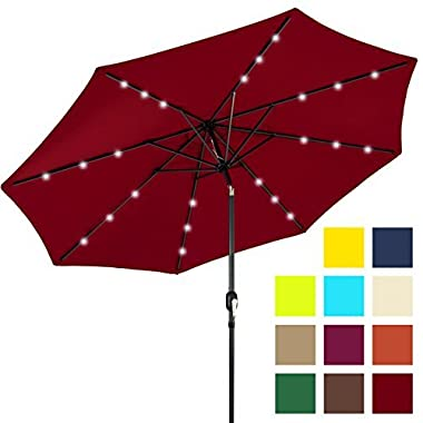 Best Choice Products 10ft Solar LED Lighted Patio Umbrella w/Tilt Adjustment - Red