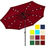 Best Choice Products 10ft Solar Powered Aluminum Polyester LED Lighted Patio Umbrella w/Tilt Adjustment and Fade-Resistant Fabric, Red