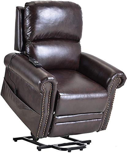 ZXCVB Ergonomic Lounge Chair with Remote Control Electric Power Recliner Lift Chair for Elderly Single Sofa Home Theater Seating PU Leather