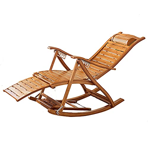 ZXQZ Silla Gravedad Cero Silla plegable - Playa para acampar al aire libre Silla mecedora Silla de playa para adultos Pausa para el almuerzo Balcón Casa multifuncional de bambú Silla de dormir Antigua