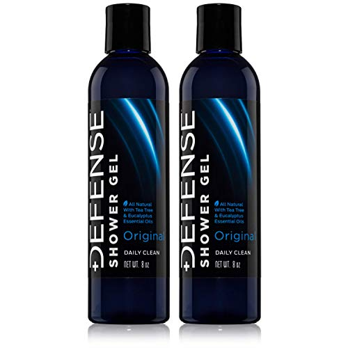 Defense Soap Body Wash Shower Gel 8 Oz (Pack of 2) - 100% Natural Tea Tree Oil and Eucalyptus Oil Helps Wash Away Ringworm, Jock Itch, Psoriasis, Yeast, and Athlete's Foot
