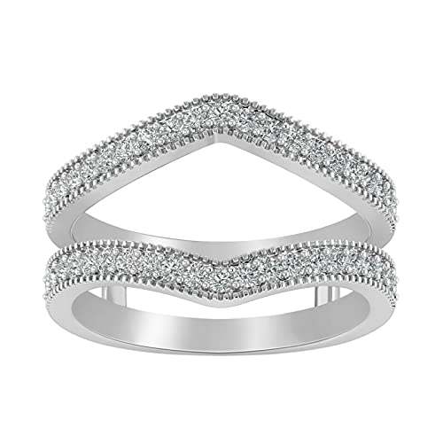 Round Cut Cubic Zirconia 14k White Gold Plated 925 Sterling Silver Enhancer Engagement Wrap Ring For Women. (9.5)