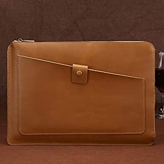 Laptop Bag Universal Genuine Leather Business Zipper Laptop Tablet Bag, for 15.4 inch and Below MacBook, Samsung, Lenovo, Sony, DELL Alienware, CHUWI, ASUS, HP (Coffee) (Color : Yellow)