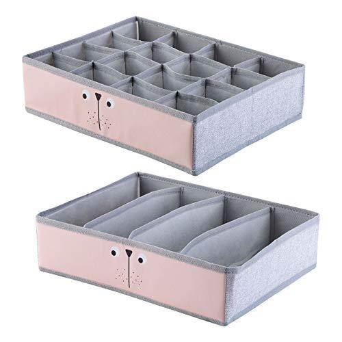 ShinePine Organizador de Ropa Interior, Cajas de Almacenamiento de Ropa Interior, para Sujetadores, Calcetines, Corbatas y Bufandas, Organizador de Tela Plegable 4 Celdas + 16 Celdas (Rosa)