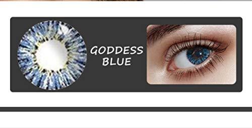 Without brand 2Pcs / Pair Mrs.H Göttin Kontaktlinsen Farbe Kontaktlinsen Crystal Clear Linsen Lens Replacement EIN Jahr, 0.00 Dioptrien (Farbe : Blue, Größe : 0)