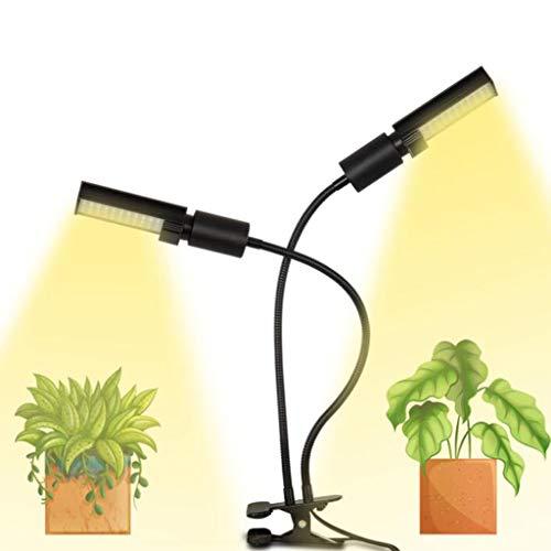 QQAA LED Plant Lights, Dual Head LED Grow Lights Voor Zaailingen, Verstelbare Zwanenhals Groeiende Plant Lamp Met Clip On Desk Clamp En Programmeerbare Timer Maakt Auto Aan Uit