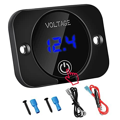 DC 12V 24V LED Digital Voltmeter Wasserdichtes Spannungsmessgerät Batterietester für Auto Boot Marinefahrzeug Motorrad LKW Wohnmobil ATV UTV mit Blaulicht Digitalbildschirm Touch Display Panel