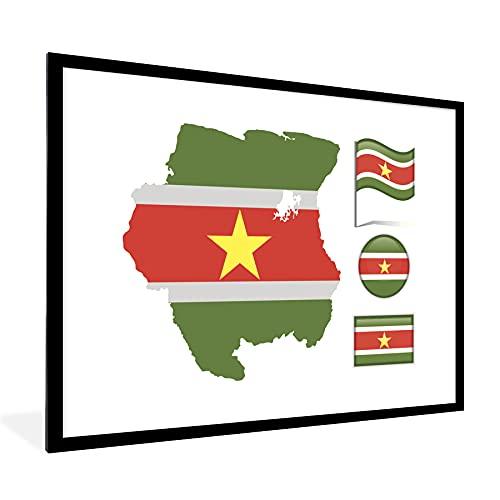 Poster mit Rahmen - Eine Illustration von Suriname mit drei Flaggen & einer Karte - fotolijst zwart met witte passe partout 60x80 - 80x60 cm