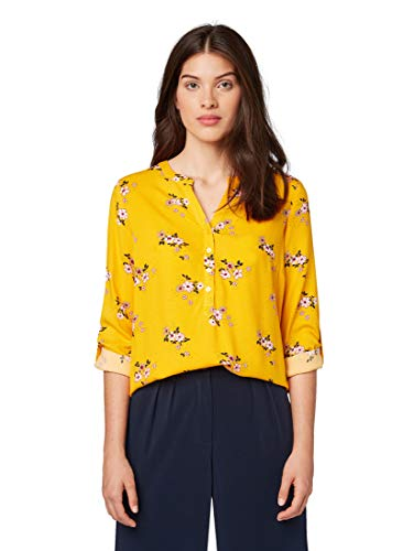TOM TAILOR Damen Blusen, Shirts & Hemden Bluse mit Blumen-Print Yellow Flower Design,38