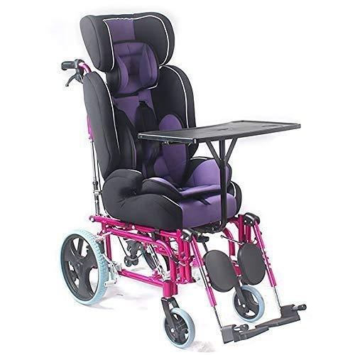 GTYHJUIK Faltbarer Rollstuhl, manueller Kinder-Rollstuhl, mit hoher Rückenlehne, mit Esstisch