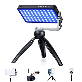 IVISII G2 Pocket RGB Camera Light,32Wh Built-in 4300mAh Rechargeable Battery 360°Full Color Gamut 9 Light Effects,2600… 1 【Video Conference Light】The video conference lighting come with Adjustable Tripod Stand is equipped full color gamut, two-color temperature lamp beads - high quality, high lumen, and high definition lamp bead. The light is softer, uniform, with more realistic colors which is good Laptop light for video conferencing. 【Portable Pocket Video Light】11.3oz(weight) ,5.6inch*3.1inch*0.6inch(size), compact and lightweight for carrying even in pocket. As a multifunctional mini photography fill light, it is perfect light for video conferencing,video shooting, interview, live streaming,YouTube, studio lighting. 【Camera light for photography】Hue adjustable is 0-360 full color gamut; Color saturation is adjustable from 0%-100%; Brightness is dimmable from 0%-100%; Color temperature is dimmable from 2600K(warm) to 10000K(cold); Built-in LCD display for accurate readings, makes your work more effectively.