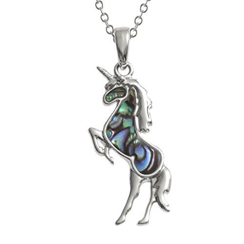 Kiara gioielli unicorno ciondolo collana intarsiato con naturale Greenish Blue paua abalone su 45,7cm catena forzatina. Non si ossida colore argento rodiato.