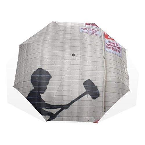 LASINSU Regenschirm,Banksy Graffiti Kunst Hammer Jungen Art Drucken,Faltbar Kompakt Sonnenschirm UV Schutz Winddicht Regenschirm