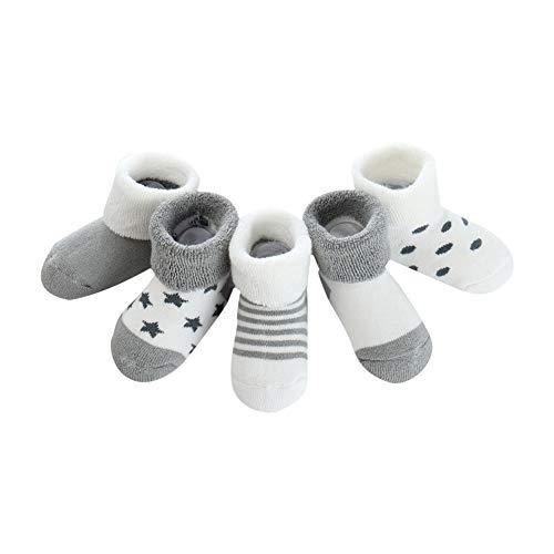 mxdmai 5 Paar Warme Winter Baby Socken Weiche Neugeborene Dicke Socken Exquisite Baumwollsocken für Herbst und Winter, Grau Stern (0 bis 6 Monate)