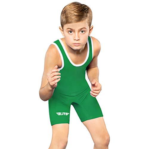 Kids Wrestling Youth Singlet, Elite Sports Standard Boys Wrestling Singlet (Green, Medium)