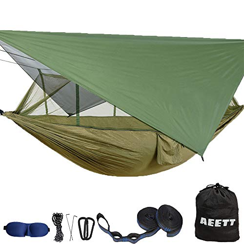 Camping Hammock with Mosquito Net and Rain Fly XL - Portable Travel Hammock Bug Net - Camping Equipment - Hammock Tent for Outdoor Hiking Campin Backpacking Travel (Army Green+Army Green, XL)